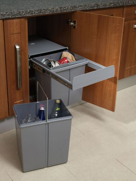 Base Mounted Pull Out Segregated 40 Litre Waste Bin 2 X