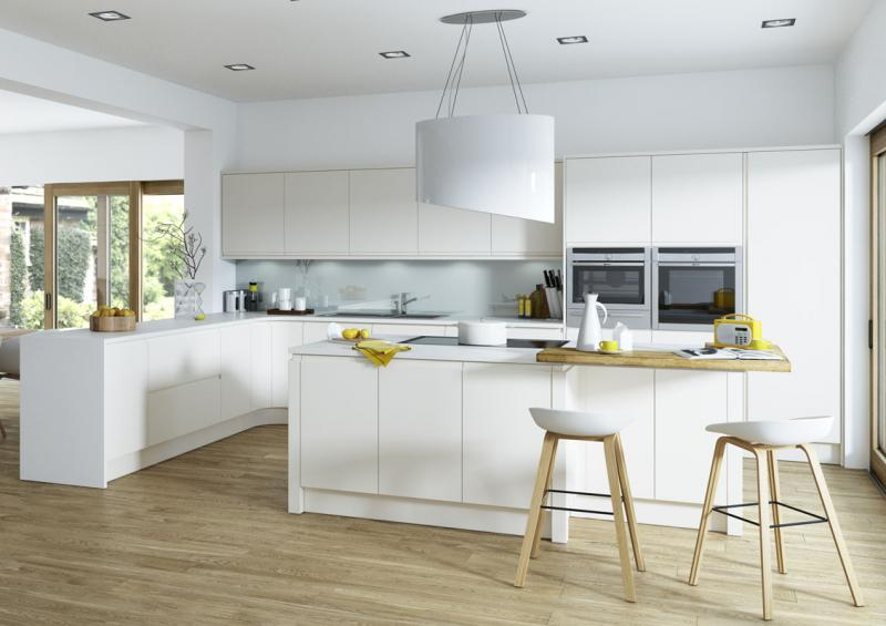 Aconbury matt porcelain handleless kitchen for Kitchen designs high gloss