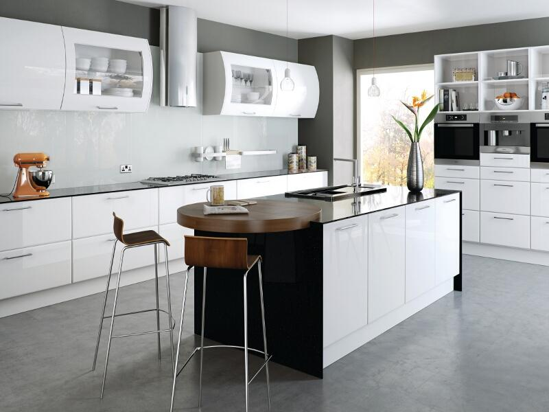 Lincoln style kitchen with high gloss white finish for White gloss kitchen wall cupboards
