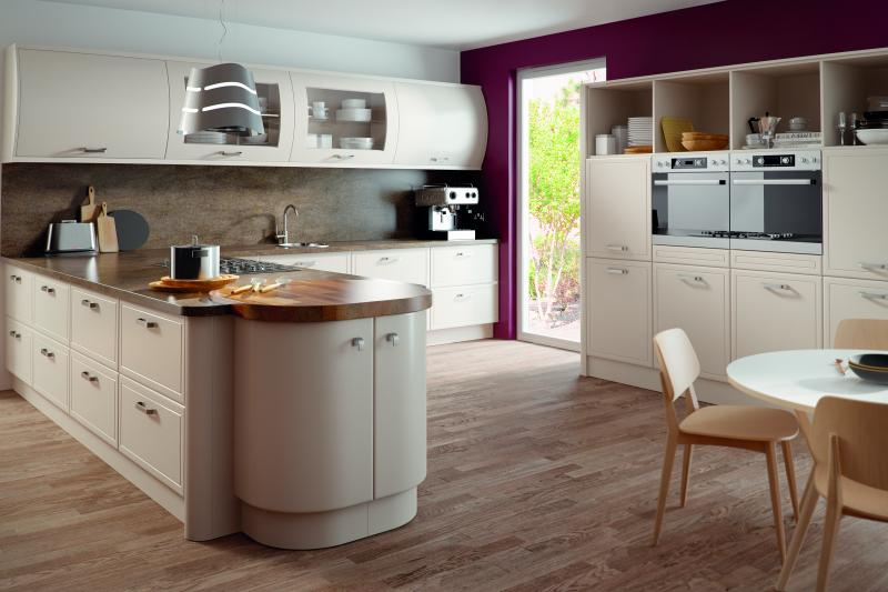 Euroline kitchen finished in matt cashmere for Cashmere kitchen units