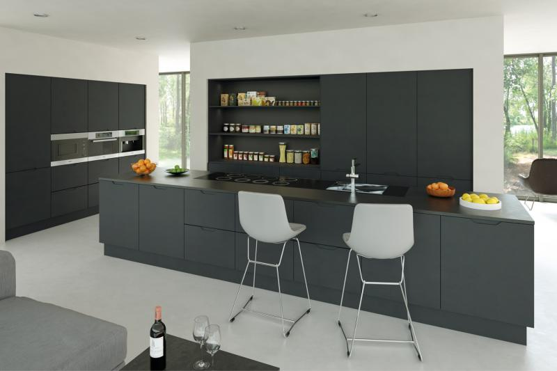 Integra handleless kitchen matt graphite Handleless kitchen drawers design