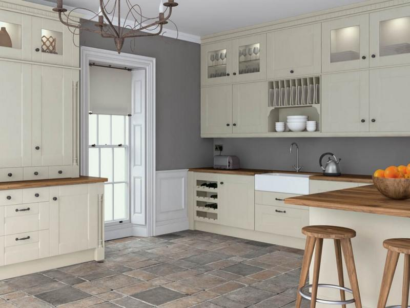 Warwick Kitchen Shown In Oakgrain Mussel Finish