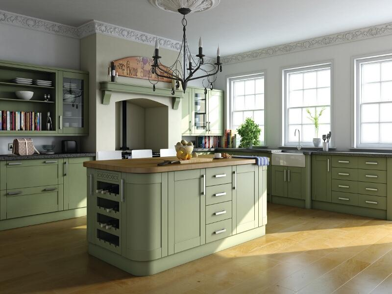 Shaker style kitchen in paintable vinyl lark larks for Unit kitchen designs