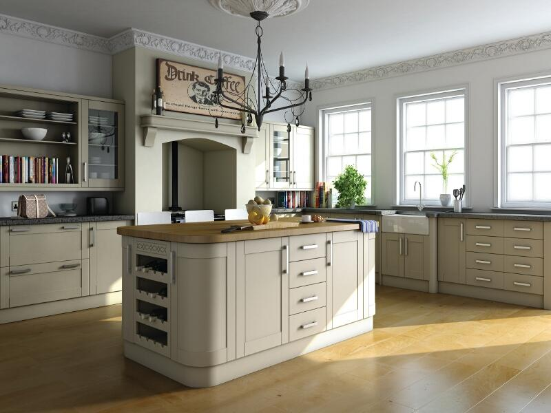 Shaker style traditional kitchen in paintable vinyl for Shaker kitchen designs