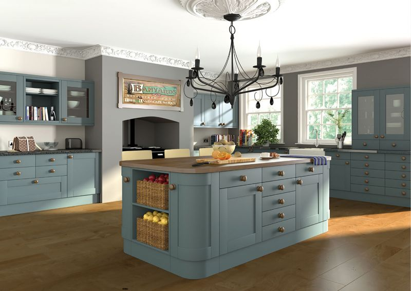 Shaker style kitchen in paintable vinyl contrast for Shaker style kitchen uk