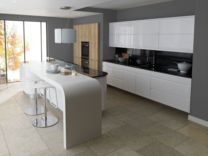 Remo white high gloss lacquer kitchen lark larks for Kitchen designs high gloss
