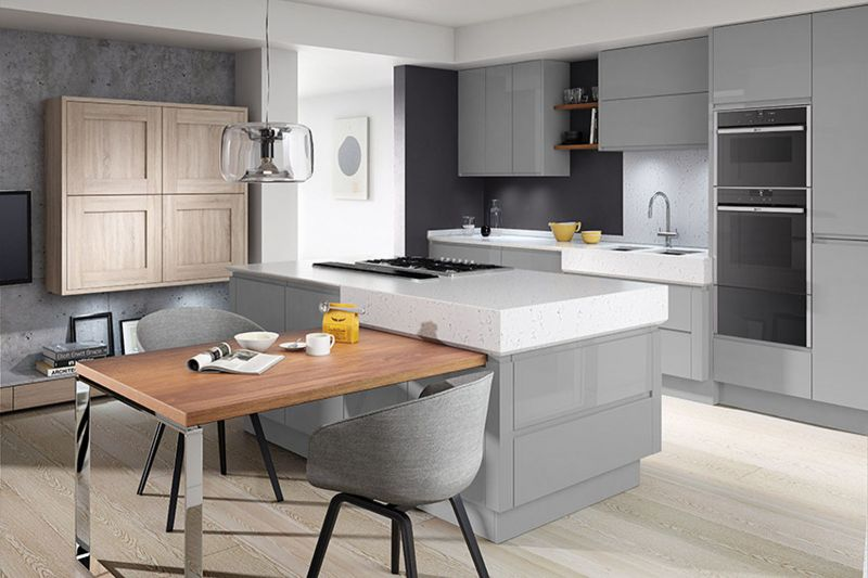 Remo Silver Grey High Gloss Lacquer Kitchen