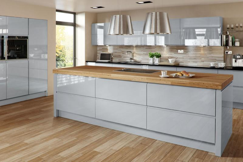 Welford Handleless Kitchen In Grey Lark Larks - Grey kitchen units sale