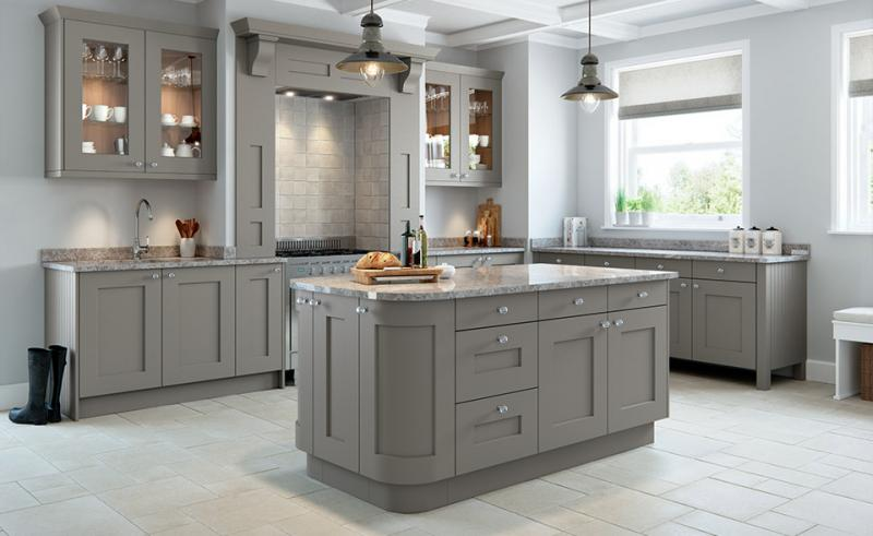 Rivington bespoke painted kitchen in dove grey for Coloured kitchen units uk