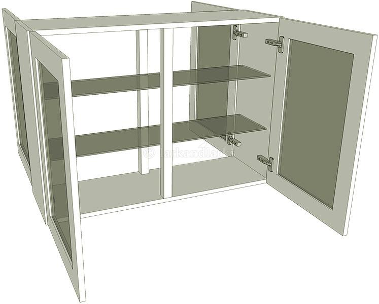 Peninsula glazed double kitchen wall unit tall for Full wall kitchen units