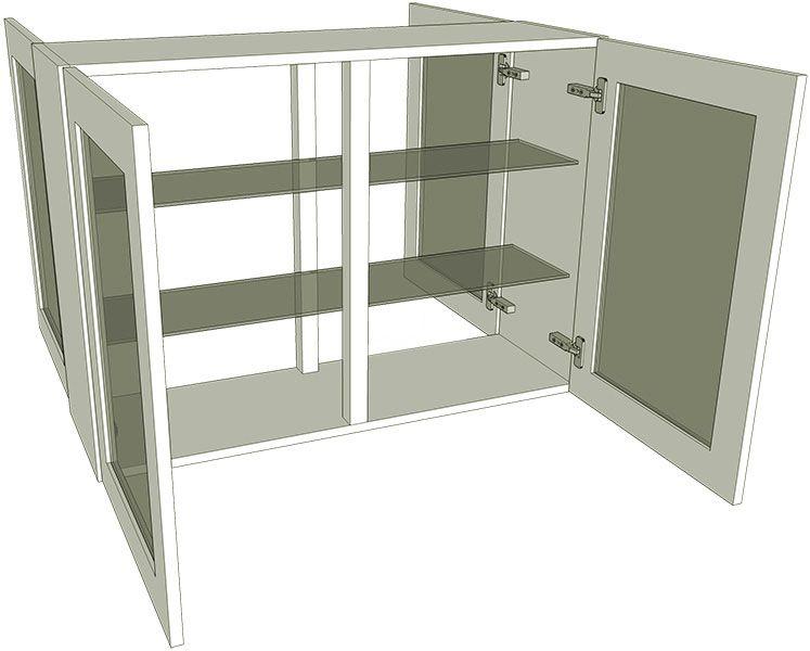Peninsula glazed double kitchen wall unit medium for Double kitchen wall unit