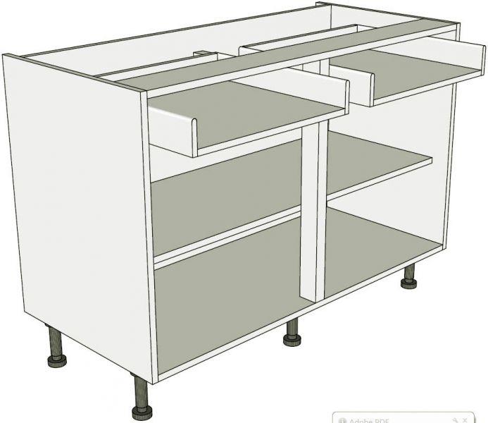 Drawerline kitchen base unit double for Double kitchen base unit