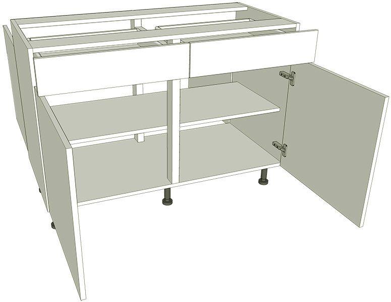 Peninsula double drawerline kitchen base unit for Kitchen base unit carcase only