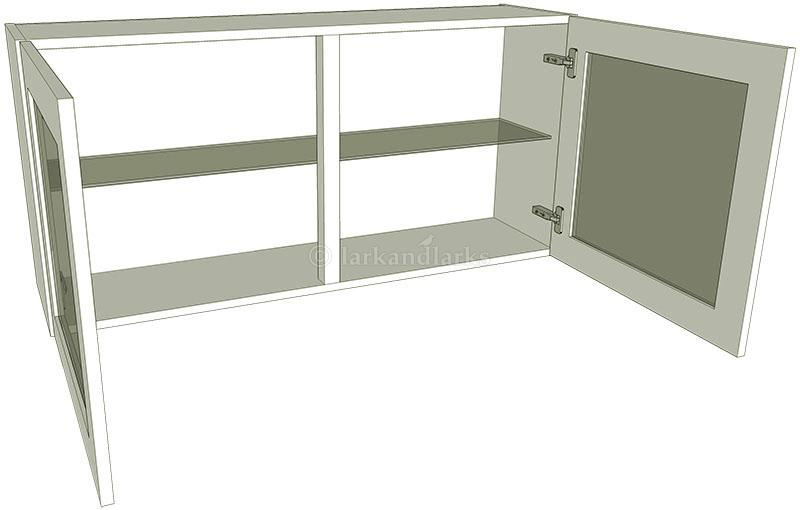 Glazed double kitchen wall unit low 575mm high for Double kitchen wall unit