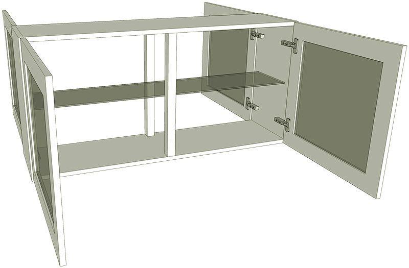 Peninsula glazed double kitchen wall unit low for Double kitchen wall unit