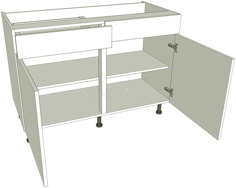 Sink kitchen base units double working drawer for Double kitchen base unit
