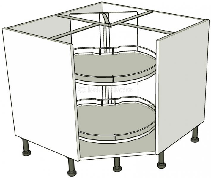Corner carousel base units turnmotion lark larks for Service void kitchen units