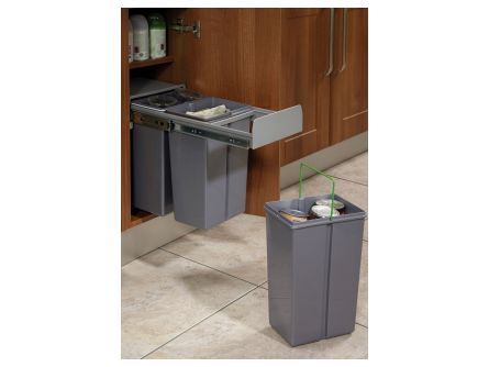 Base Mounted Pull-Out Segregated 30 Litre Waste Bin - 3 x 10 Litres