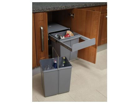 Soft Close Pull Out Kitchen Waste Bins - 40 litres