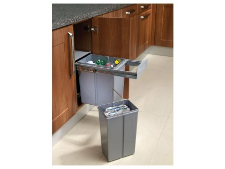 Base Mounted Pull-Out Segregated 30 Litre Waste Bin