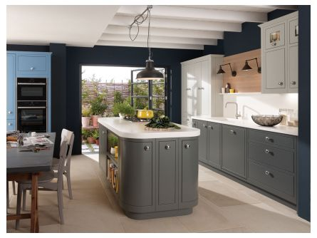 1909 In Frame Slab Kitchen In Slate Saffron And Partridge