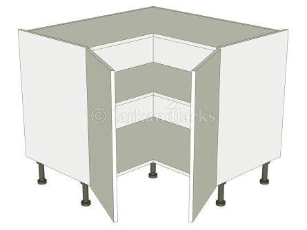Corner Kitchen Base Unit 'L' Shape - 2 Separate Doors - shown with doors/drawer fronts