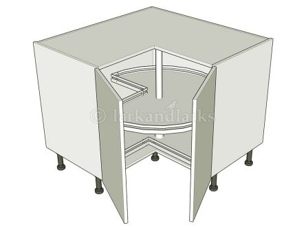 Corner Carousel Base Unit  - 2 Separate Doors - shown with doors/drawer fronts