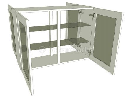 Peninsula glazed wall unit with glass shelves, tall 900mm high