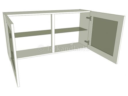 Glazed low wall unit with glass shelf, 575mm high