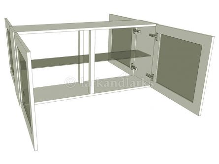 Peninsula glazed wall unit with glass shelves, low 575mm high
