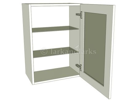 Glazed medium wall unit 720mm high with glass shelves