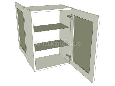 Peninsula glazed wall unit with glass shelf, medium 720mm high