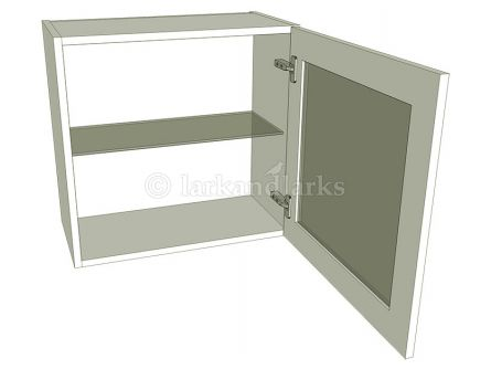 Glazed Single Kitchen Wall Unit - Low (575mm high) - shown with doors/drawer fronts