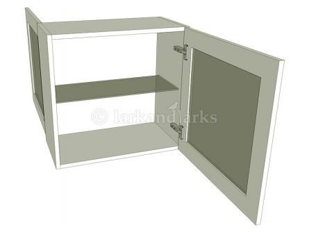 Peninsula glazed wall unit with glass shelf, low 575mm high