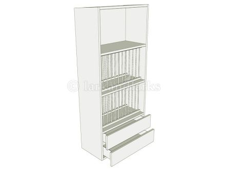 Plate rack unit 1390mm high with two working drawers
