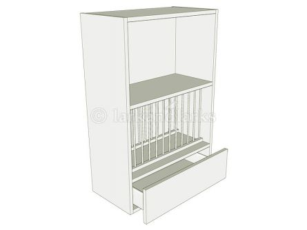 Plate rack unit 900mm high with working drawer