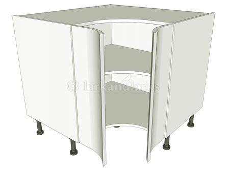 Corner Kitchen Base Unit Concave - shown with doors/drawer fronts