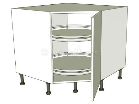 Corner Carousel Base Units Diagonal - shown with doors/drawer fronts