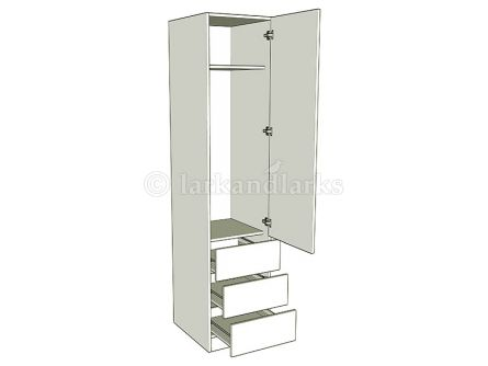 single width combination wardrobe - linen press wardrobe