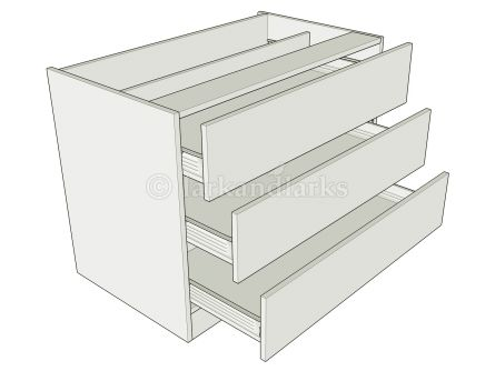 3 drawer standard height bedroom drawer unit