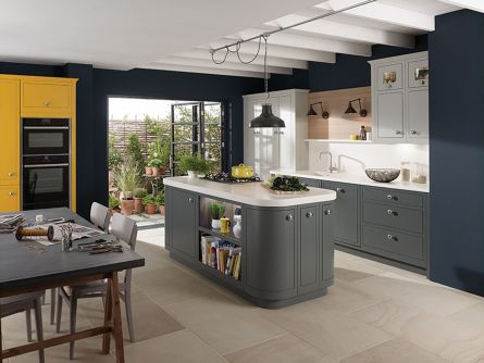 1909 In-Frame Slab Kitchen in Slate, Saffron and Partridge Grey