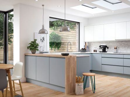 Aconbury Luna & Porcelain Matt Handleless Kitchen