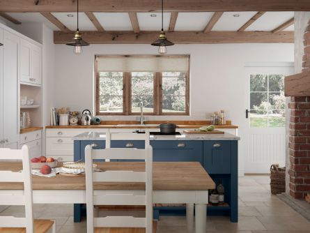 Hartside Painted Kitchen in Dark Blue & Porcelain