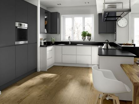 Remo Handleless Kitchen in Matt Porcelain