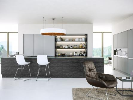 Zurfiz kitchen in Evora Stone Graphite & Supermatt Light Grey
