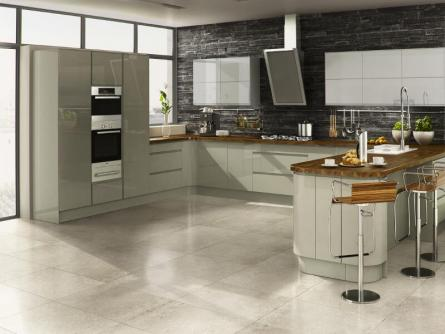 Welford Handleless Kitchen in Willow and Grey