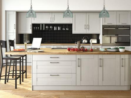 Wilton oakgrain grey kitchen lark larks - Creative ways upgrade grey kitchen cabinets beautifully ...