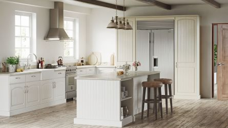 Cottage kitchen - painted oak white and painted oak mussel