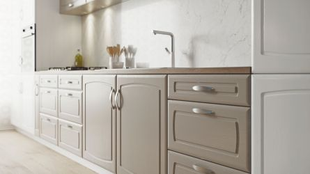 Madrid Kitchen in painted oak stone grey and painted oak white finish