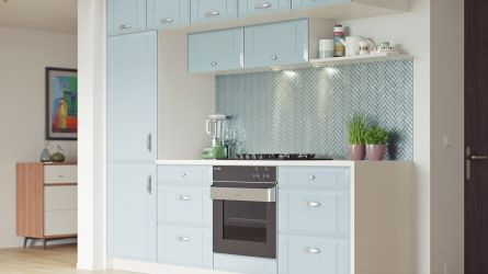 Twinline kitchen - high gloss blue sparkle